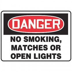 "Accuform Signs - MSMK135VS - Accuform Signs 7"" X 10"" Black, Red And White 4 mils Adhesive Vinyl Smoking Control Sign ""DANGER NO SMOKING, MATCHES OR OPEN LIGHTS"""