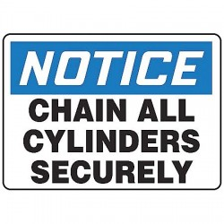 Accuform Signs - MCPG811VA - Notice Sign Chain Cylinders 7x10 Aluminum Accuform Mfg Inc, Ea