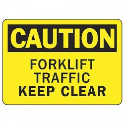 Accuform Signs - MVHR695VS - Caution Sign Forklift Traffic 7x10 Self Adhesive Ansi Z535.2-1998 Accuform Mfg Inc, Ea