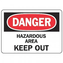 Accuform Signs - MADM070VS - Danger Sign Hazardous Area 7x10 Self Adhesive Regusafe Ansi Z535.2-1998 Accuform Mfg Inc, Ea