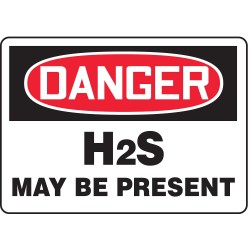 Accuform Signs - MCHL054VA - Danger Sign Hydrogen Sulfide May Be 7x10 Aluminum Accuform Mfg Inc, Ea