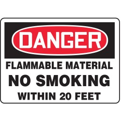 Accuform Signs - MSMK031VS - Danger Sign Flammable No Smoking 7x10 Self Adhesive Accuform Mfg Inc, Ea