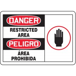 Accuform Signs - SBMADM159MVA - Danger Sign Restricted Area Bilingual 7x10 Aluminum 29 Cfr 1910.145 Accuform Mfg Inc, Ea