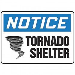 Accuform Signs - MFEX800VP - Accuform Signs 7' X 10' Black, Blue And White 0.055' Plastic Fire And Emergency Sign 'NOTICE TORNADO SHELTER (With Graphic)' With 3/16' Mounting Hole And Round Corner, ( Each )