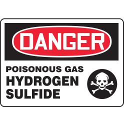 Accuform Signs - MCHL049VS - Danger Sign Poisonous Gas Hydrogen Sulfide 7x10 Self Adhesive Accuform Mfg Inc, Ea