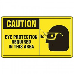 Accuform Signs - MPPE414VS - Caution Sign Eye Protection Required 7x10 Self Adhesive 29 Cfr 1910.145 Accuform Mfg Inc, Ea