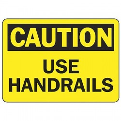 Accuform Signs - MSTF659VA - Caution Sign Use Handrail 7x10 Aluminum Ansi Z535.2 - 1998 Accuform Mfg Inc, Ea