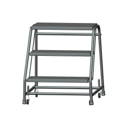 Ballymore / Garlin - 326P - Garlin Spring Loaded Casters Rolling Ladder 3 Step Knock Down No Rails Perforated Steel Gray, Ea