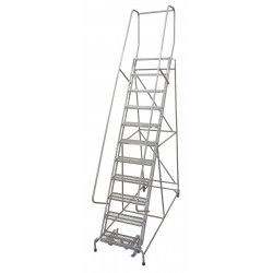 Cotterman - 1011R2632A1E10B4C1P6 - 11-Step Rolling Ladder, Expanded Metal Step Tread, 140 Overall Height, 450 lb. Load Capacity