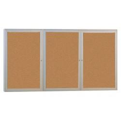 Ghent - PA34872K - Ghent 3-door Enclosed Cork Bulletin Board - 48 Height x 72 Width - Natural Cork Surface - Self-healing, Shatter Resistant, Tamper Proof, Locking Door - Satin Aluminum Frame - 1 Each