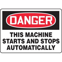 Accuform Signs - MEQM152VP - Accuform Signs 10' X 14' Black, Red And White 0.055' Plastic Equipment Machinery And Operations Safety Sign 'DANGER THIS MACHINE STARTS AND STOPS AUTOMATICALLY' With 3/16' Mounting Hole And Round