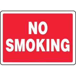 Accuform Signs - MSMK570VP - Accuform Signs 10' X 14' White And Red 0.055' Plastic Smoking Control Sign 'NO SMOKING' With 3/16' Mounting Hole And Round Corner, ( Each )