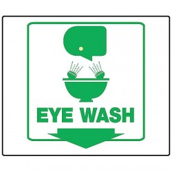 "Accuform Signs - PSP601 - Accuform Signs 6"" X 8 3/4"" X 3 3/4"" And 6"" X 5"" Panel Green And White 0.100"" Plastic Projection 3D First Aid Sign ""EYE WASH (With Arrow Graphic)"""