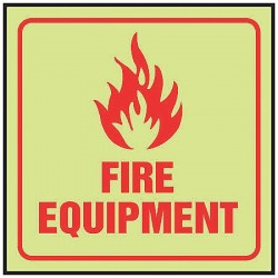 Accuform Signs - PSP457 - Fire Equipment Sign, 8 x 10In, R/Glow, ENG