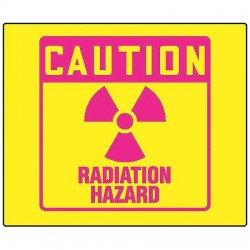 Accuform Signs - PSP771 - Caution Radiation Sign, 8 x 8In, Pink/YEL