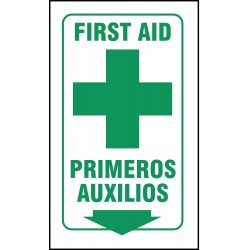Accuform Signs - SBPSP756 - First Aid Sign, 12 x 9In, GRN/WHT, PLSTC