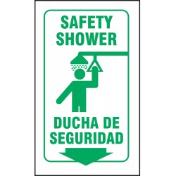 Accuform Signs - SBPSP752 - Safety Shower Sign, 12 x 9In, GRN/WHT