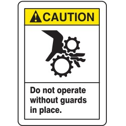 Accuform Signs - MEQM734VS - Machine Guarding, Caution, Vinyl, 14 x 10, Not Retroreflective