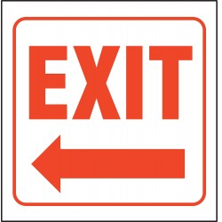 Accuform Signs - PSP130 - Exit Sign, 6 x 8-1/2In, R/WHT, ACRYL, Exit