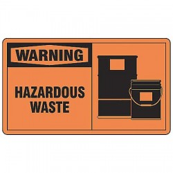 "Accuform Signs - LCHL300VSP - Self Adhesive Vinyl Hazardous Waste Label, 3-1/2"" Height, 5"" Width"