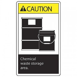 "Accuform Signs - LCHL607VSP - Self Adhesive Vinyl Waste Label, 5"" Height, 3-1/2"" Width"