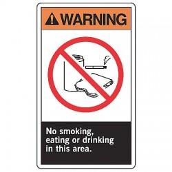 Accuform Signs - LSMK300VSP - Warn Sign No Smkg Eating 5x3 1, Pk