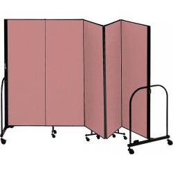 Screenflex - CFSL405 MAUVE - 9 ft. 5 in. x 4 ft., 5-Panel Portable Room Divider, Mauve