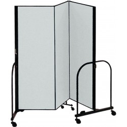 Screenflex - CFSL403 GREY - 5 ft. 9 in. x 4 ft., 3-Panel Portable Room Divider, Gray