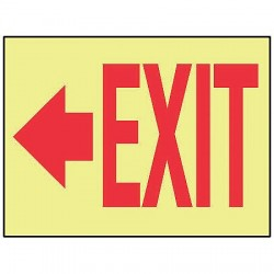 Accuform Signs - MLAD506GP - Accuform Signs 7' X 10' Red And Yellow 0.060' Lumi-Glow Plastic Admittance And Exit Sign 'Exit (With Left Arrow)' With 3/16' Corner Mounting Hole And Round Corner, ( Each )