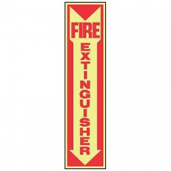 Accuform Signs - MFXG551GP - Accuform Signs 18' X 4' Red And Glow 0.060' Lumi-Glow Plastic Fire And Emergency Sign 'FIRE EXTINGUISHER (With Arrow)' With 3/16' Corner Mounting Hole And Round Corner, ( Each )