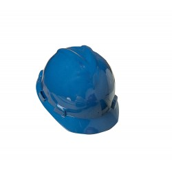 MSA - 477483 - MSA Blue V-Gard Polyethylene Large Slotted Cap Style Hard Hat With Fas Trac 4 Point Ratchet Suspension