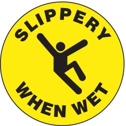 Accuform Signs - MFS723 - Floor Sign Slippery When Wet 17 In Adhesive, Ea