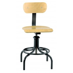Bevco Precision - 1411 - Square Stool with 20 to 28 Seat Height Range and 300 lb. Weight Capacity, Black Base/Plywood Seat