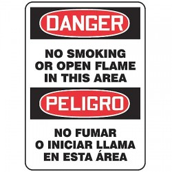 "Accuform Signs - MSPS023VS - No Smoking, Danger/Peligro, Vinyl, 14"" x 10"", Adhesive Surface, Not Retroreflective"