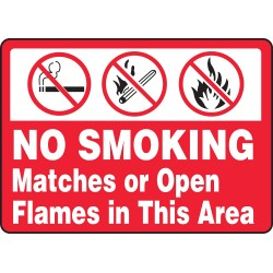 Accuform Signs - MSMK434VA - Accuform MSMK434VA Sign, No Smoking Matches Or Open Flames In This Area, 7x10', Aluminum; 1/Pk