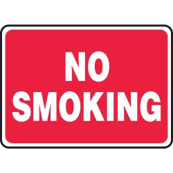 Accuform Signs - MSMK423VP - Accuform Signs 7' X 10' White And Red 0.055' Plastic Smoking Control Sign 'NO SMOKING' With 3/16' Mounting Hole And Round Corner, ( Each )