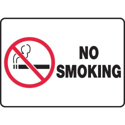 Accuform Signs - MSMK427VA - No Smoking Sign, 7 x 10In, R and BK/WHT, AL