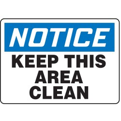 Accuform Signs - MHSK846VA - Notice Sign, 10 x 14In, BL and BK/WHT, AL