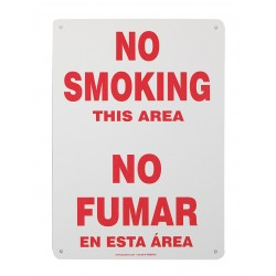 Accuform Signs - SBMSMK401VS - Accuform Signs 14 X 10 Red And White 4 mils Adhesive Vinyl Spanish Bilingual Smoking Control Sign NO SMOKING THIS AREA, ( Each )
