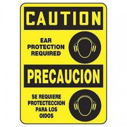 Accuform Signs - SBMPPE435VA - Caution Sign, 14 x 10In, BK/YEL, AL, SURF