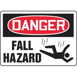 "Accuform Signs - MCSP188VP - Accuform Signs 10"" X 14"" Black, Red And White 0.055"" Plastic Construction Site Sign ""DANGER FALL HAZARD (With Graphic)"" With 3/16"" Mounting Hole And Round Corner"