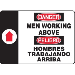 Accuform Signs - SBMCRT016VP - Accuform Signs 14' X 10' Black, Red And White 0.055' Plastic Spanish Bilingual Construction Sign 'MEN WORKING ABOVE (With Arrow)' With 3/16' Mounting Hole And Round Corner, ( Each )