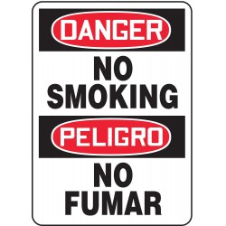 Accuform Signs - MSPD50VP - Dngr No Smoking Bil 14x10 Pl, Ea