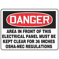 Accuform Signs - MELC001VS - Accuform Signs 7' X 10' Black, Red And White 4 mils Adhesive Vinyl Electrical Sign 'DANGER AREA IN FRONT OF THIS ELECTRICAL PANEL MUST BE KEPT CLEAR FOR 36 INCHES OSHA-NEC REGULATIONS'