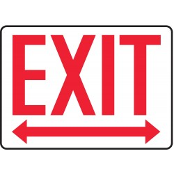 Accuform Signs - MADM630VP - Accuform Signs 7' X 10' Red And White 0.055' Plastic Admittance And Exit Sign 'EXIT (With Left And Right Arrow)' With 3/16' Mounting Hole And Round Corner, ( Each )