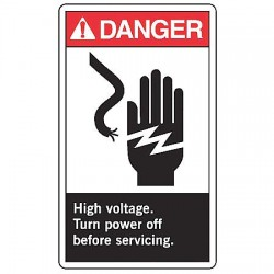 Accuform Signs - MRLC003VS - Electrical Hazard, Danger, Vinyl, 14 x 10, Adhesive Surface, Not Retroreflective