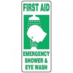 Accuform Signs - MFSD996VP - Accuform Signs 17' X 7' Green And White 0.055' Plastic First Aid Sign 'FIRST AID EMERGENCY SHOWER & EYE WASH (With Graphic)' With 3/16' Mounting Hole And Round Corner, ( Each )