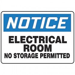 Accuform Signs - MELC804VA - Accuform Signs 10' X 14' Black, Blue And White 0.040' Aluminum Electrical Sign 'NOTICE ELECTRICAL ROOM NO STORAGE PERMITTED' With Round Corner, ( Each )