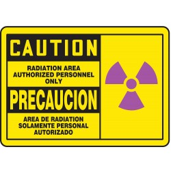 Accuform Signs - SBMRAD632MVA - Caution Radiation Sign, 7 x 10In, AL, SURF