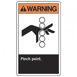 Accuform Signs - MRQM303VS - Keep Hands Clear, Warning, Vinyl, 14 x 10, Adhesive Surface, Not Retroreflective